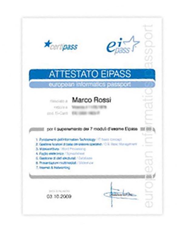 certificato eipass